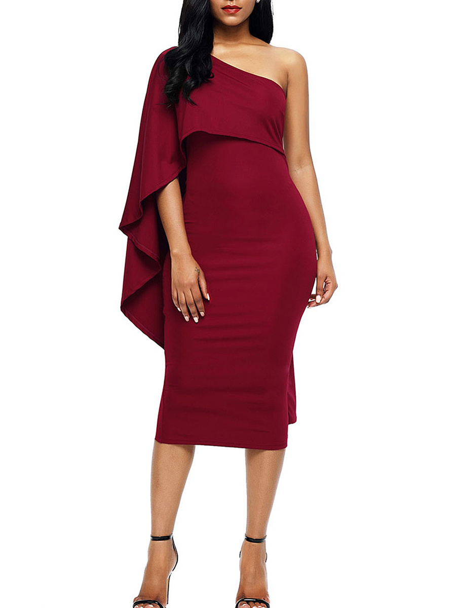Sexy One Shoulder Cape Sleeve Plain Bodycon Dress