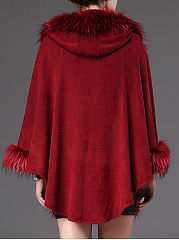 Hooded Plain Faux Fur Trim Knitted Cape