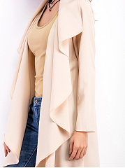 Lapel Plain Snap Front Longline Trench Coat