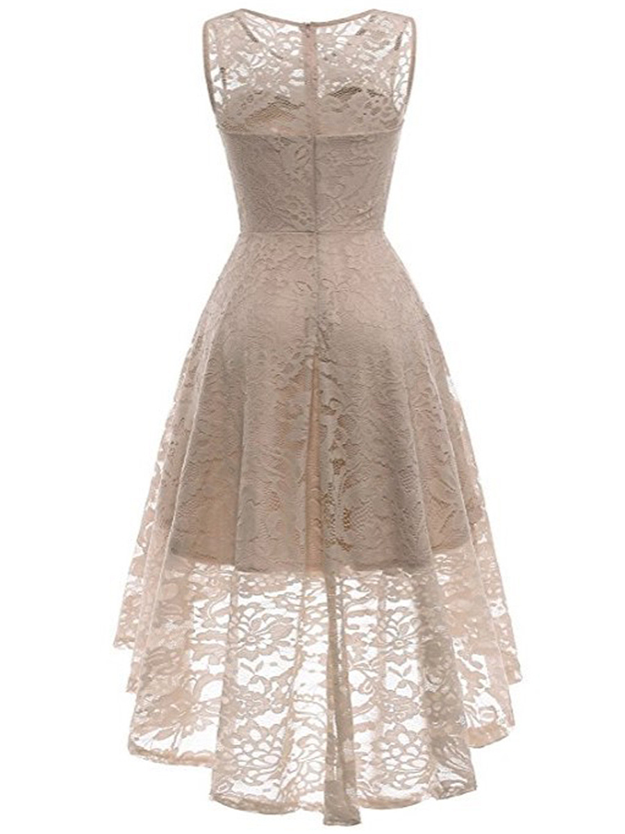 Round Neck Lace High-Low Hollow Out Plain Skater Dress