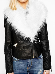 Faux Fur Collar  Zips  Plain  Long Sleeve Jackets