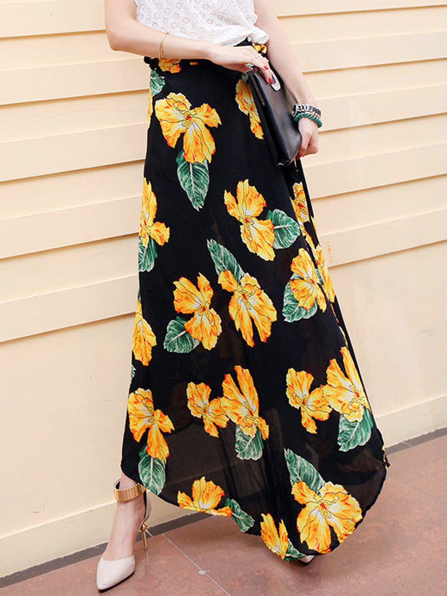 Floral Printed Slit Flared Maxi Skirt