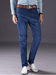 Basic-Light-Wash-Patch-Pocket-Straight-Mens-Jeans