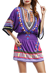 Split Neck Elastic Waist Tribal Printed Skater Dress