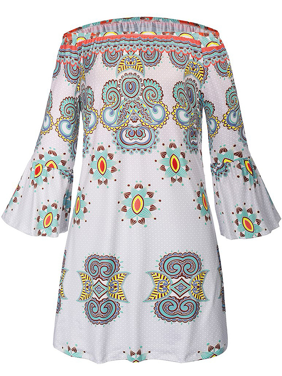 Off Shoulder Tribal Printed Bell Sleeve Shift Dress