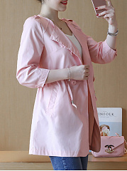 Drawstring  Plain  Half Sleeve Trench Coats