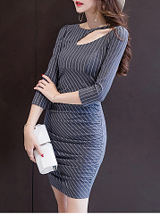 Asymmetric Neck  Striped  Blend Bodycon Dress