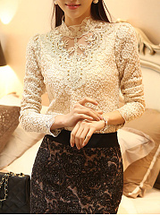 Autumn Spring  Lace  Band Collar  Beading  Hollow Out  Long Sleeve Long Sleeve T-Shirts