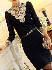 Autumn Spring  Lace  Band Collar  Beading  Hollow Out  Long Sleeve Blouses