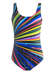 Scoop Neck Multi-Color Striped One Piece