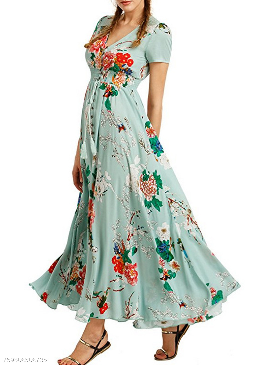 Surplice  Elastic Waist  Printed Maxi Dress