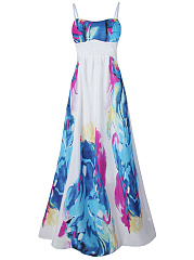 Charming Spaghetti Strap Printed Maxi Dress
