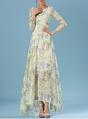 Round Neck Hollow Out Printed High-Low Maxi Dress