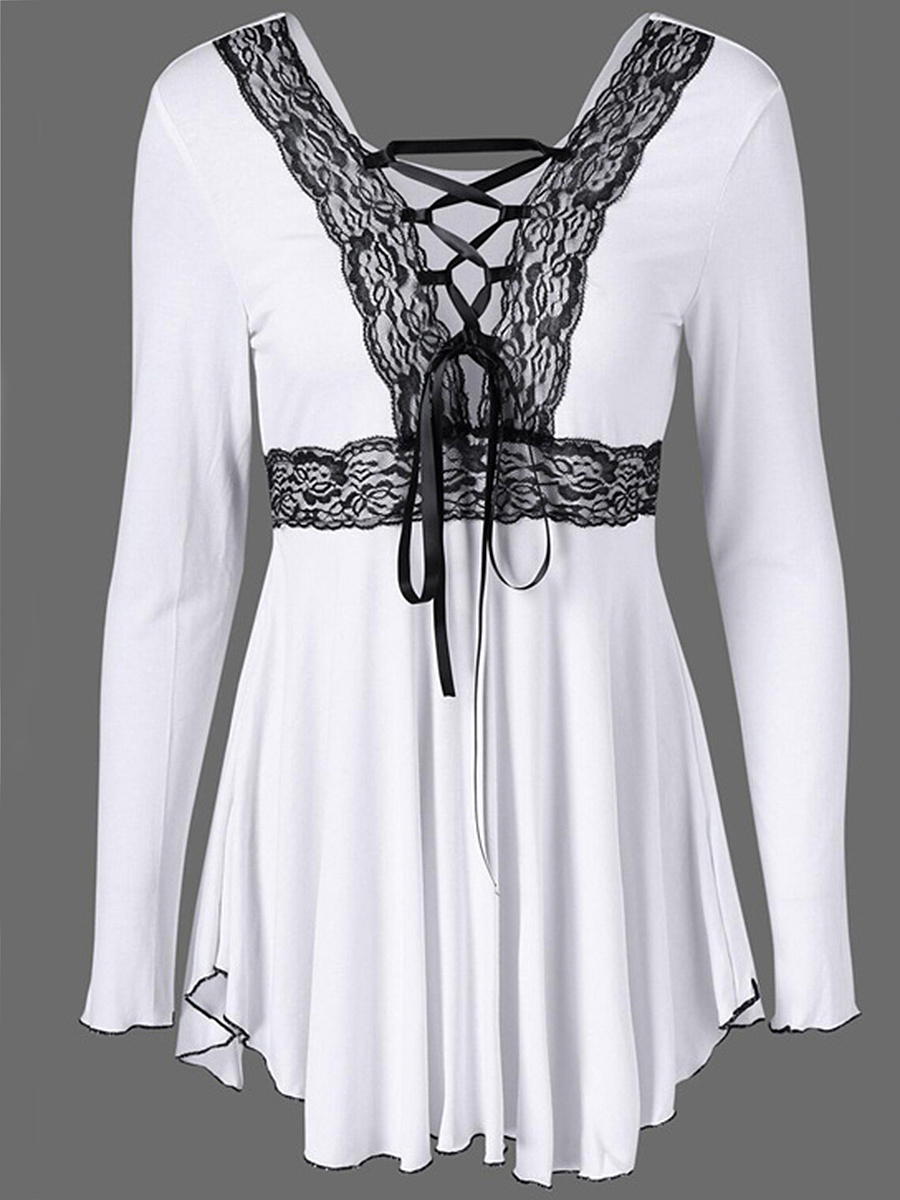 Deep V-Neck Decorative Lace Lace-Up Long Sleeve T-Shirt