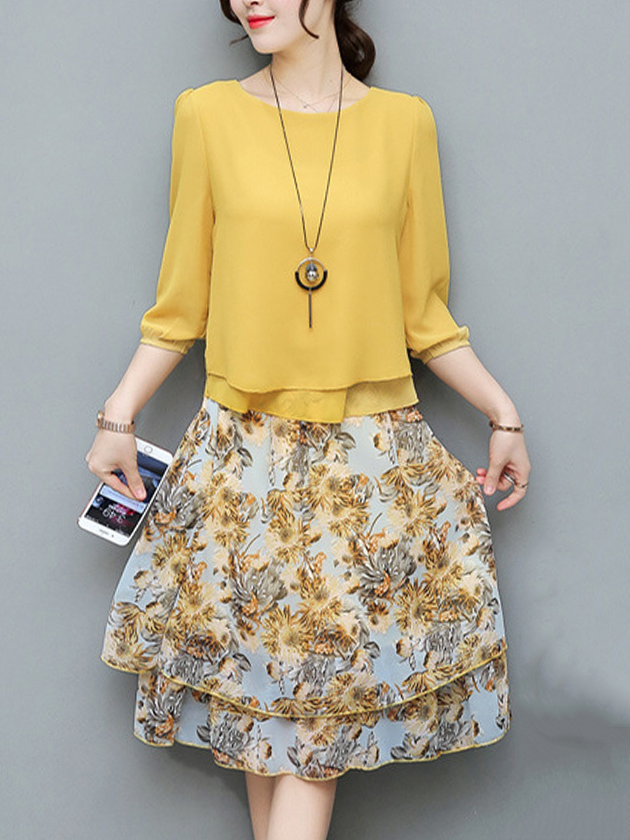 Round Neck Blouse And Printed Flared Midi Skirt