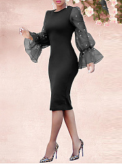 Crew Neck  Beading See-Through  Plain Bodycon Dress