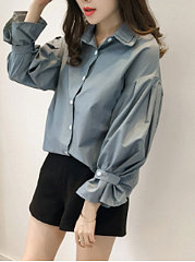Turn Down Collar  Decorative Button  Plain  Long Sleeve Blouses