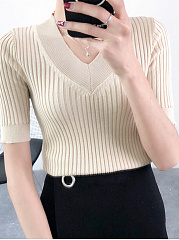V-Neck  Plain Striped  Short Sleeve Sweaters Pullover