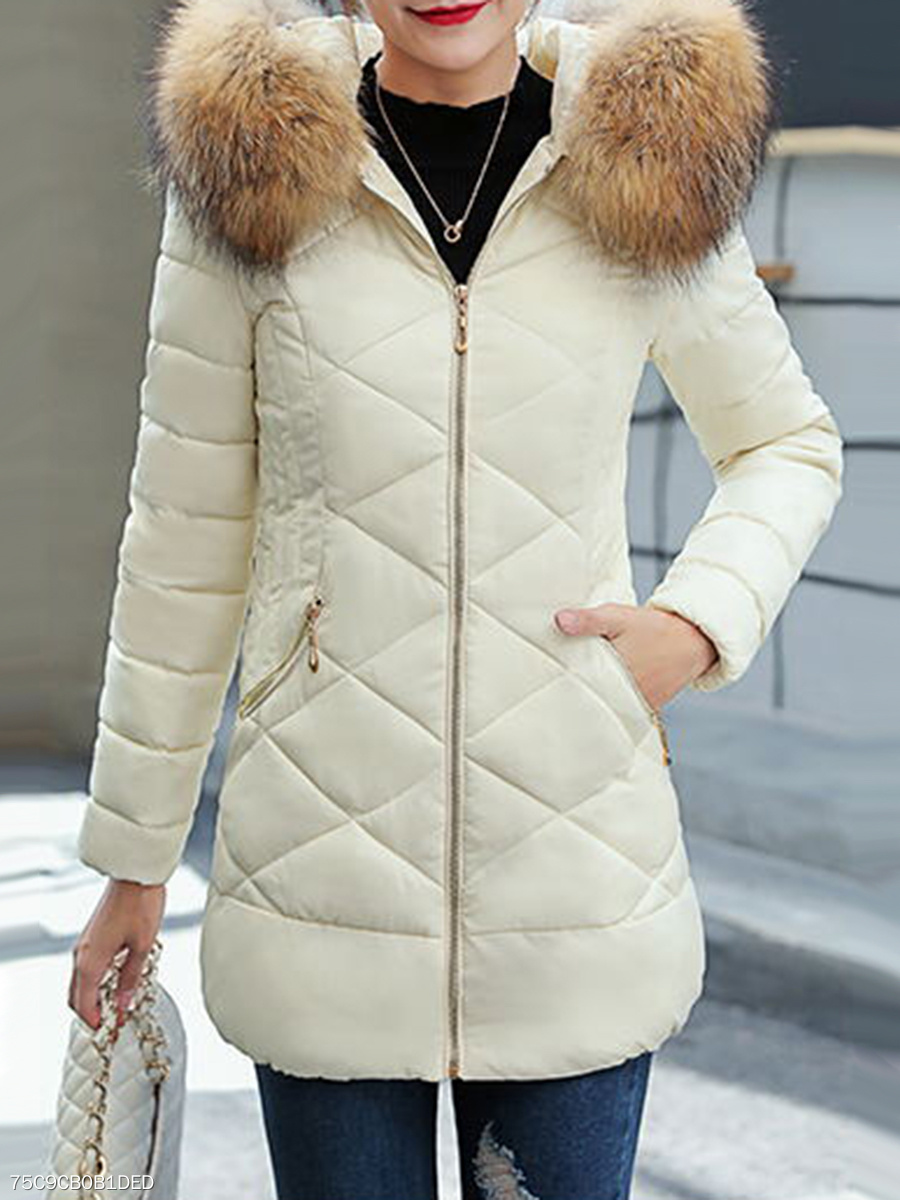 Hooded  Fur Collar  Plain Coat