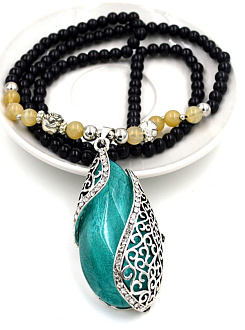 Green Stone Drop Shape Bead Necklace