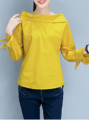 Autumn Spring  Cotton  Women  Boat Neck  Plain  Tie Sleeve  Long Sleeve Blouses