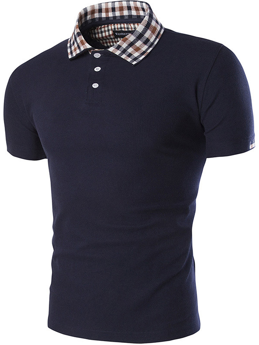 Men Plaid Polo Collar Short Sleeve T-Shirt