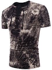 V-Neck  Lace-Up  Tie/Dye  Short Sleeve Short Sleeves T-Shirts