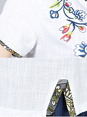 Spring Summer  Cotton  Women  Round Neck  Slit  Embroidery  Short Sleeve Blouses