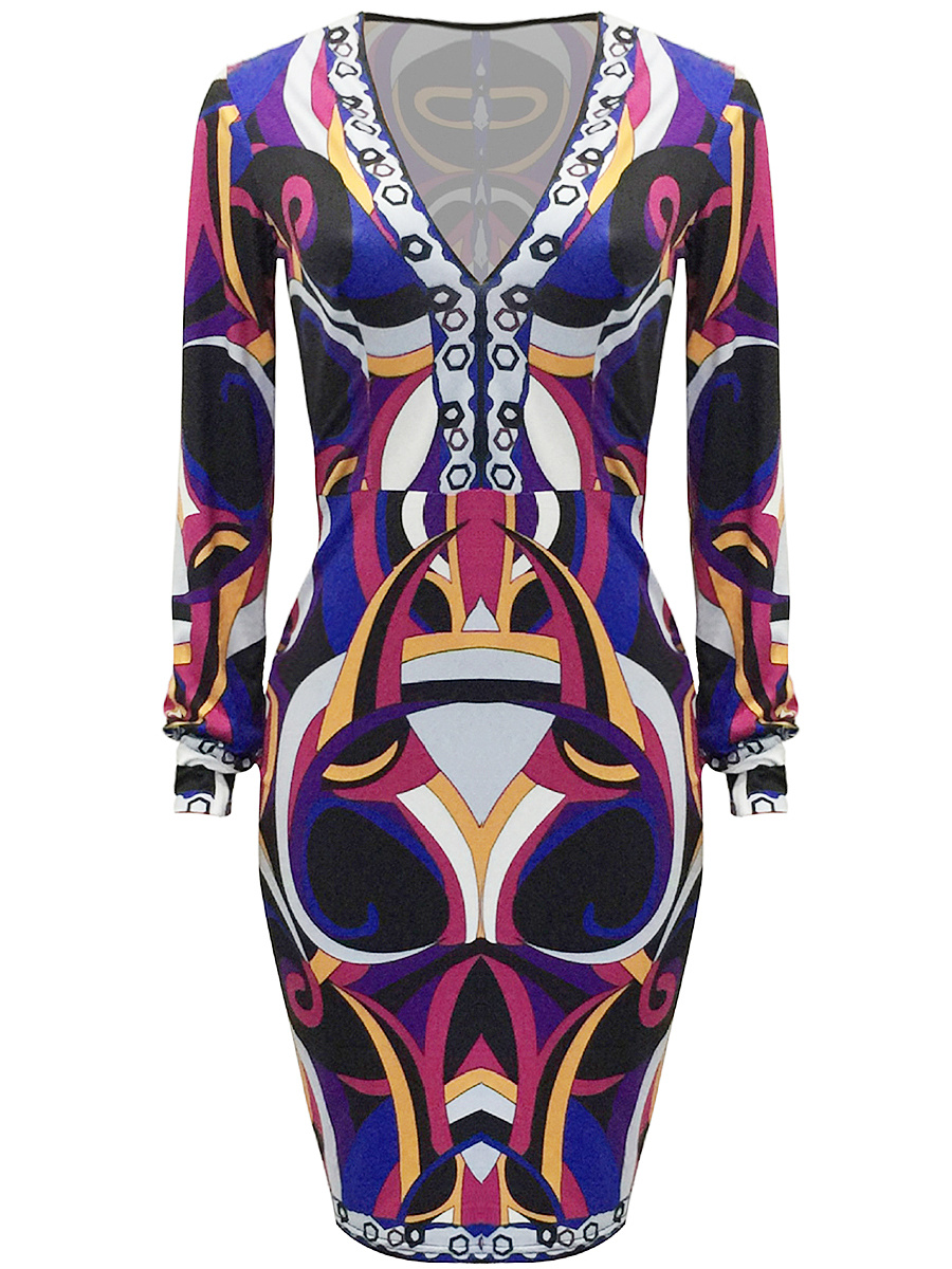 Deep V-Neck Multi-Color Printed Bodycon Dress