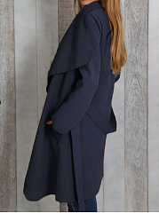 Fold-Over Collar  Belt Belt Loops  Plain  Long Sleeve Coats