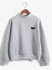 Crew Neck  Animal Prints Sweatshirt
