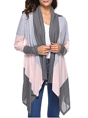Color Block  Long Sleeve Cardigans