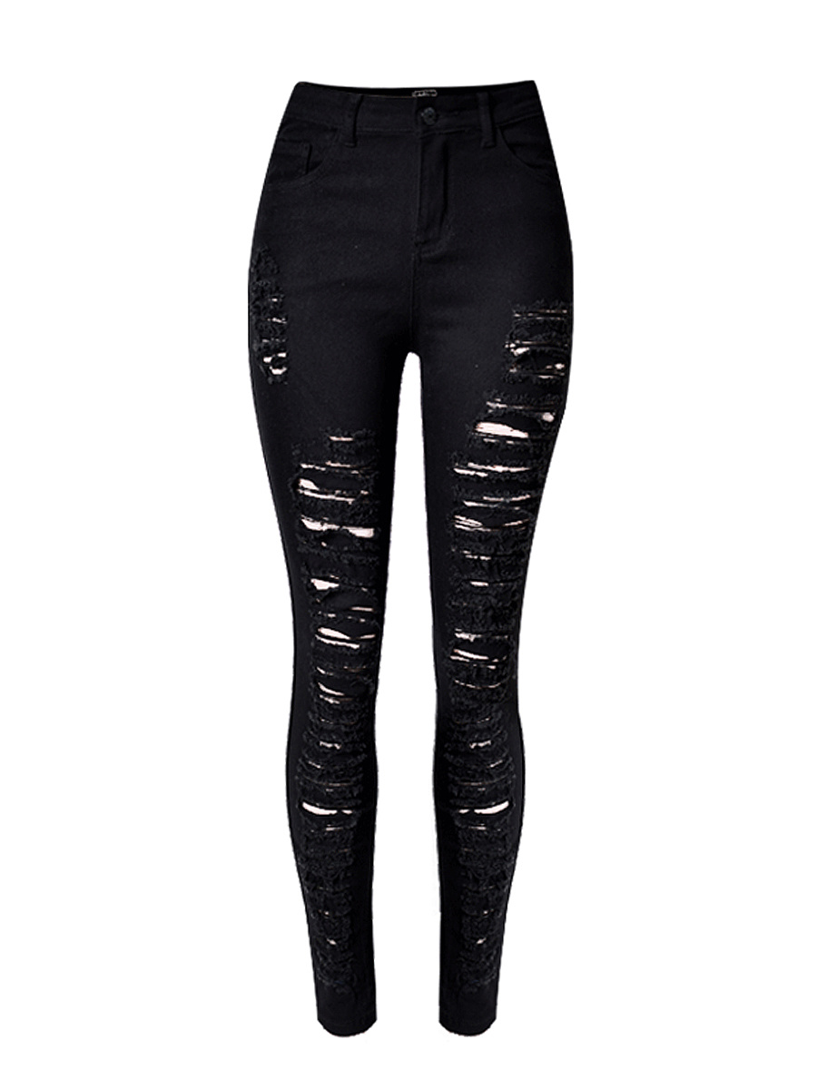 Broken Hole Ripped  Plain  Slim-Leg  High-Rise Jean