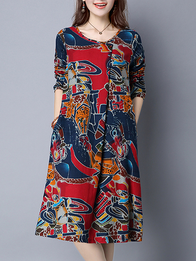 Image of Fashionmia Casual Round Neck Abstract Print Shift Dress
