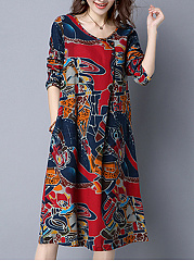 Casual Round Neck  Abstract Print Shift Dress