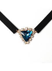 Crystal Pendant Velvet Choker Necklace