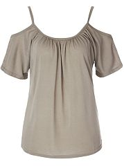 Off Shoulder Plain Short-Sleeve-T-Shirt