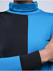 High Neck  Color Block Long Sleeve T-Shirts