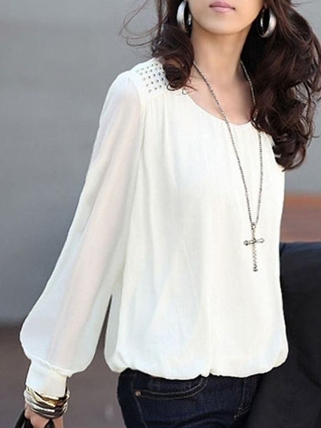 Autumn Spring Summer  Polyester  Women  Round Neck  Glitter  Plain  Puff Sleeve  Long Sleeve Blouses
