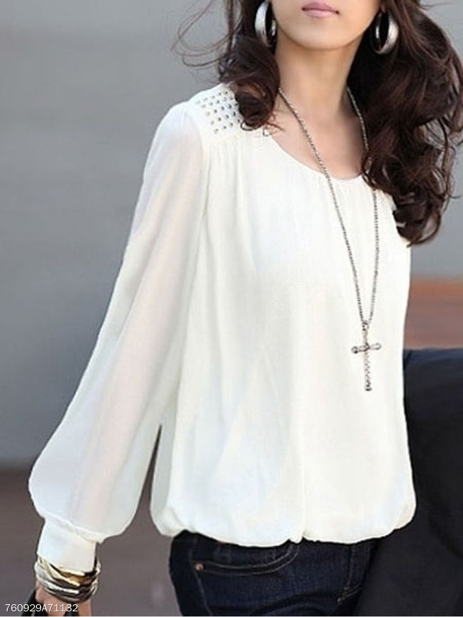 Autumn Spring Summer  Polyester  Women  Round Neck  Glitter  Plain  Puff Sleeve  Long Sleeve Blouses