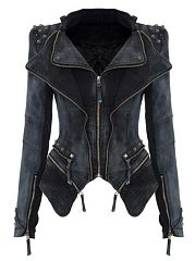 Women  Denim  Zipper Lapel Jacket