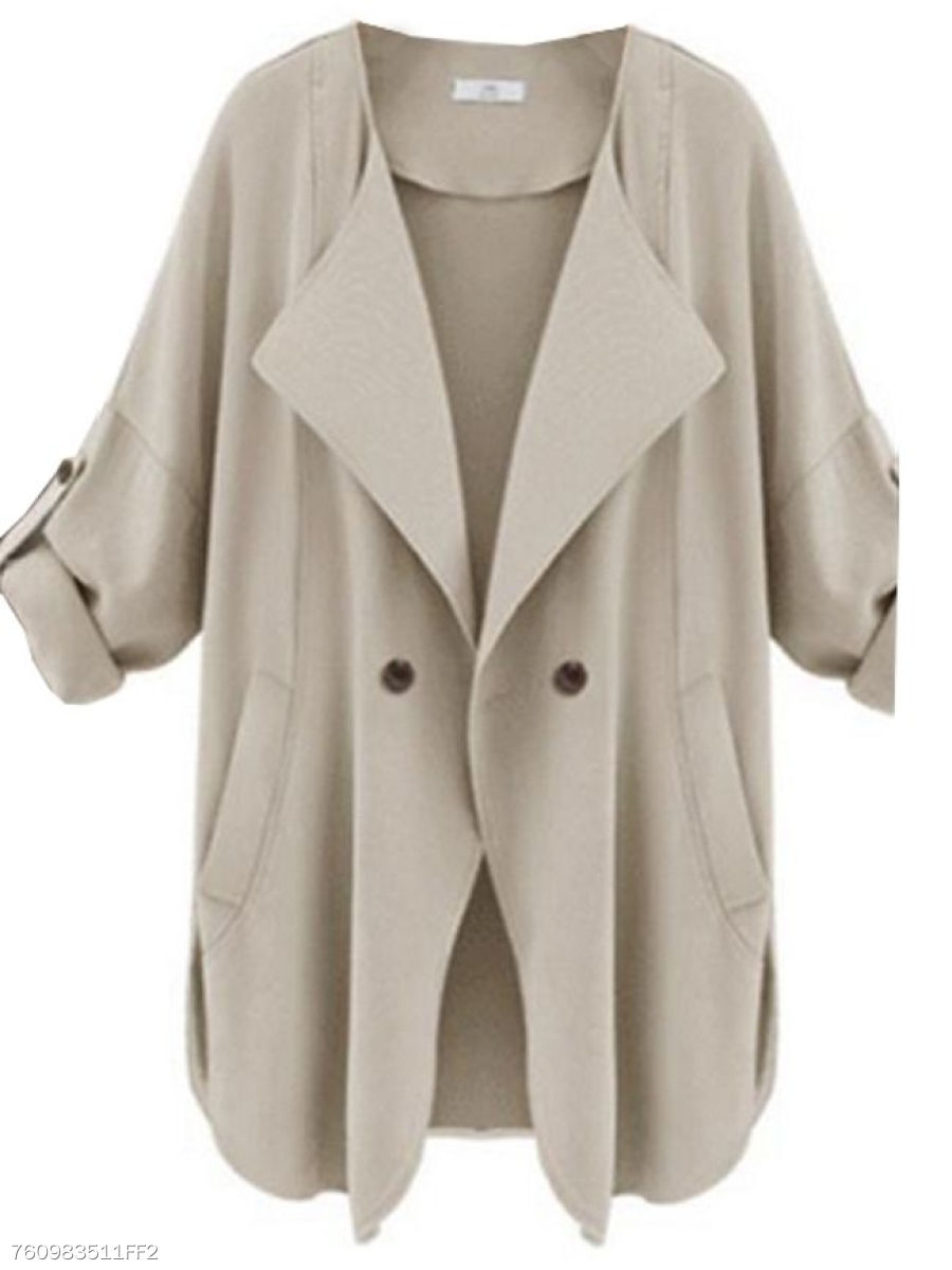 Comfortable Lapel Breasted With Pockets  Trench-Coats