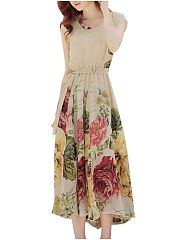 Elegant Round Neck Chiffon Floral Printed Maxi Dress