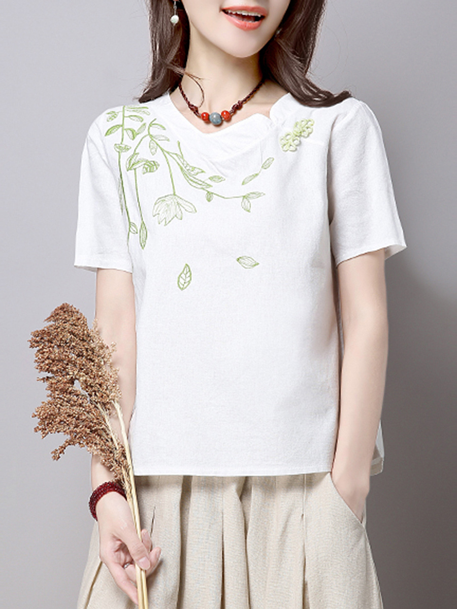 Embroidery Round Neck Short Sleeve T-Shirt