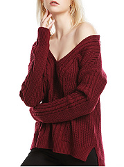 V-Neck  Embossed  Long Sleeve Sweaters Pullover
