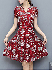 Split Neck Floral Hollow Out Skater Dress
