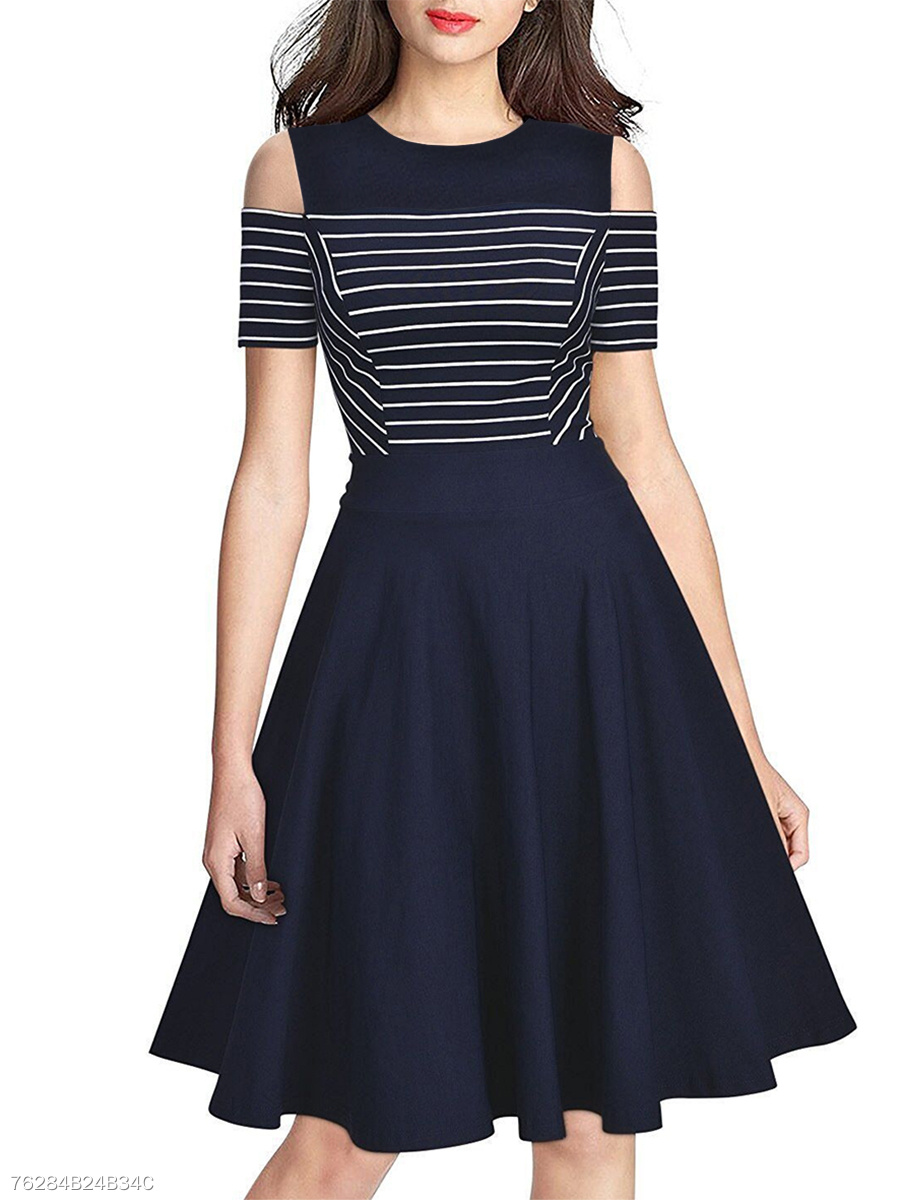 Round Neck  Plain Striped Skater Dress
