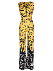 Deep V-Neck Color Block Printed Wide-Leg Jumpsuit