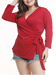V-Neck  Asymmetric Hem Lace-Up  Plain  Long Sleeve Plus Size Blouse