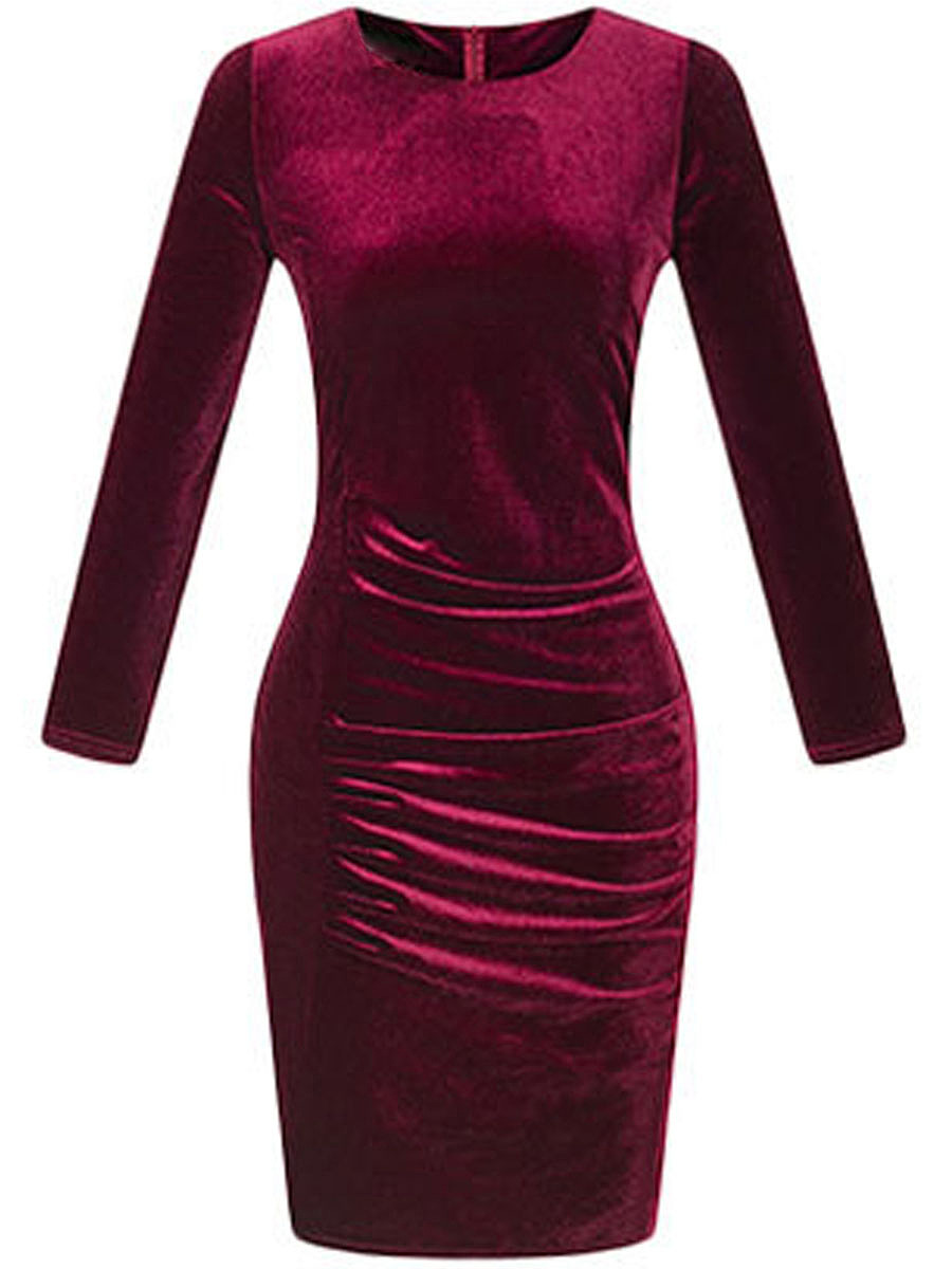 Vintage Plain Velvet Round Neck Bodycon Dress